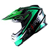 1Storm Adult Motocross Helmet BMX MX ATV Dirt Bike Helmet Racing Style HF801; Sonic Green