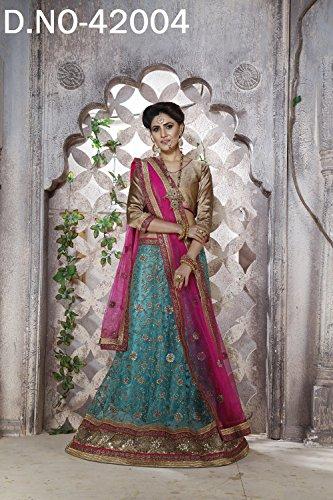 IWS Indian Women Designer Wedding sky blue Lehenga Choli K-4574-40124