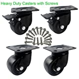 3'' Heavy Duty Plate Casters , DICASAL 2000 Lbs Load Capacity Durable Nylon Castors Wheels 360 Degree Top Plate Great for Workbench Working Cart Trolley and Furnitures (2 with Brakes and 2 wihtout)