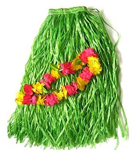 [BOSHENG Adult Size GREEN GRASS HULA Skirt with LUAU Flower Lei] (Hawaiian Hula Outfits)