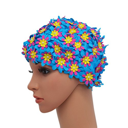(Medifier Swim cap Floral Petal Retro Style Bathing Caps for Women Blue)
