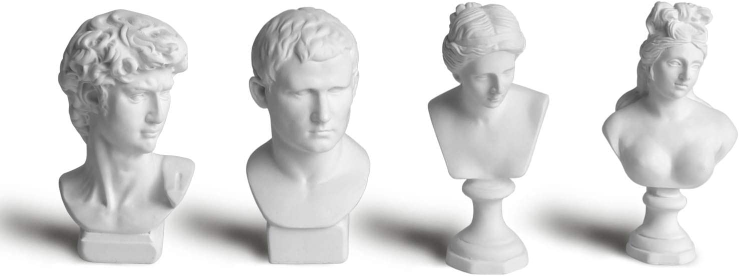 "Garwor 4Pcs/Set Classic Mini 2.7"" Greek Bust Resin Sculptures and Statues, Home Décor, Michelangelo Sculpture Figurine, David Venus Agrippa Piano Lady, Mini Resin Figure Sculpture Crafts"