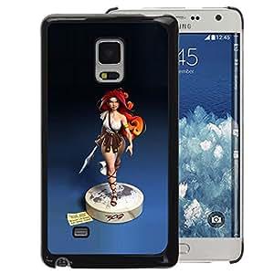 A-type Arte & diseño plástico duro Fundas Cover Cubre Hard Case Cover para Samsung Galaxy Mega 5.8 (Redhead Girl Blue Statue Woman Warrior)