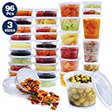 96 Pcs Plastic Food Storage Containers with Airtight Lids, Lasten Restaurant Deli Cups Foodsavers Baby Bento Lunch Slime Box Meal Prep Containers