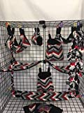 15 Piece Red, Black,White, and Gray Chevron Sugar Glider Cage Set