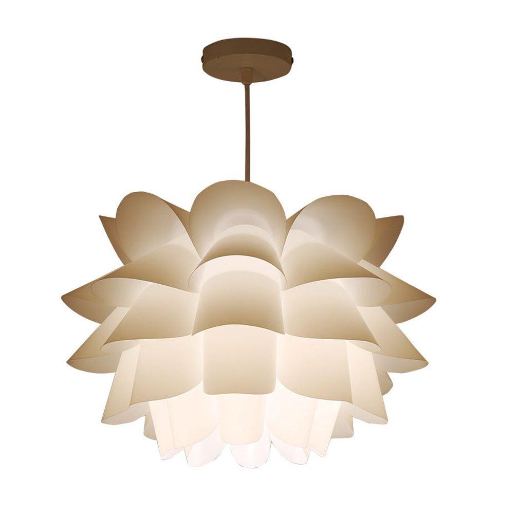 LEDMOMO Pendant Lamp Assembly Lotus Chandelier Ceiling Pendant Lampshade DIY Puzzle Lights Modern Lamp Shade 36cm Diameter (White) by LEDMOMO
