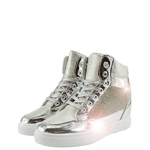 Womens Casual Turnschuhe Sneakers Glitter Sparkly, Schnürschuhe Silber