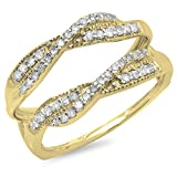 0.40 Carat (ctw) 14K Yellow Gold Round Cut Diamond Wedding Swirl Enhancer Guard Double Ring (Size 6)