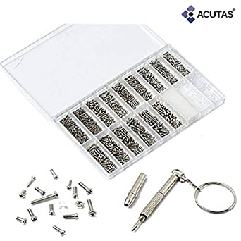 ACUTAS 1000pcs/set Micro Glasses Sunglass Watch Spectacles Phone Tablet Screws Nuts Screwdriver Repair Kits Box Hand Tool Set