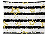 vipsung House Decor Tablecloth Golden Stars and Dot on Striped Pattern Party Celebration Theme Rectangular Table Cover for Dining Room Kitchen Black White Gold