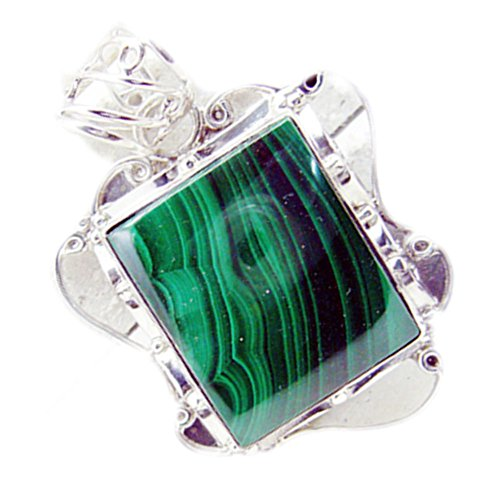 Jewelryonclick Real Malachite Pendants 925 Silver Charms For Women Square Shape Handmade Green Necklace
