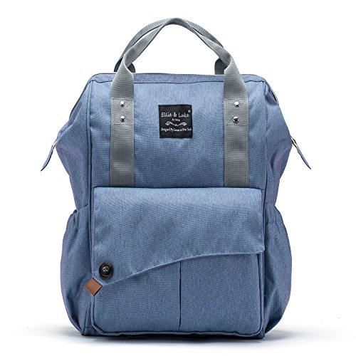 Diaper Bag Backpack for Mom or Dad | Stroller Straps, Changing Pad, Insulated Pockets, Organizer Pouches | Multifunctional Waterproof Stylish Durable Nappy Tote Bag | 3-Piece Set | SoHo Nolita, Blue (Changing Denim Pad)