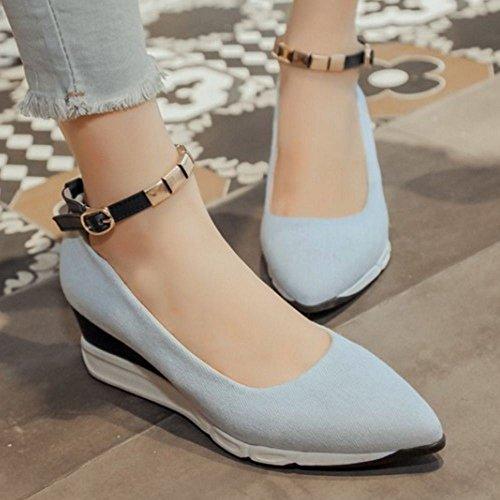 COOLCEPT Women Geschlossene Knochelriemchen Pumps Schuhe Light Blue