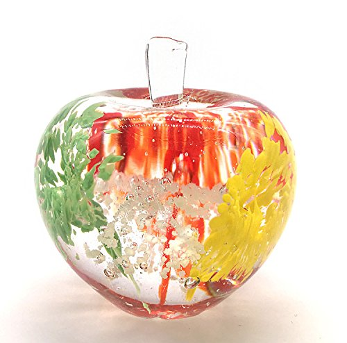 Glass Apples (60mm Crystal Apple Figurine Collectible Luminous Statue with Magical Pattern Designs,Glass Apple Paperweight Table Centerpiece Ornament)