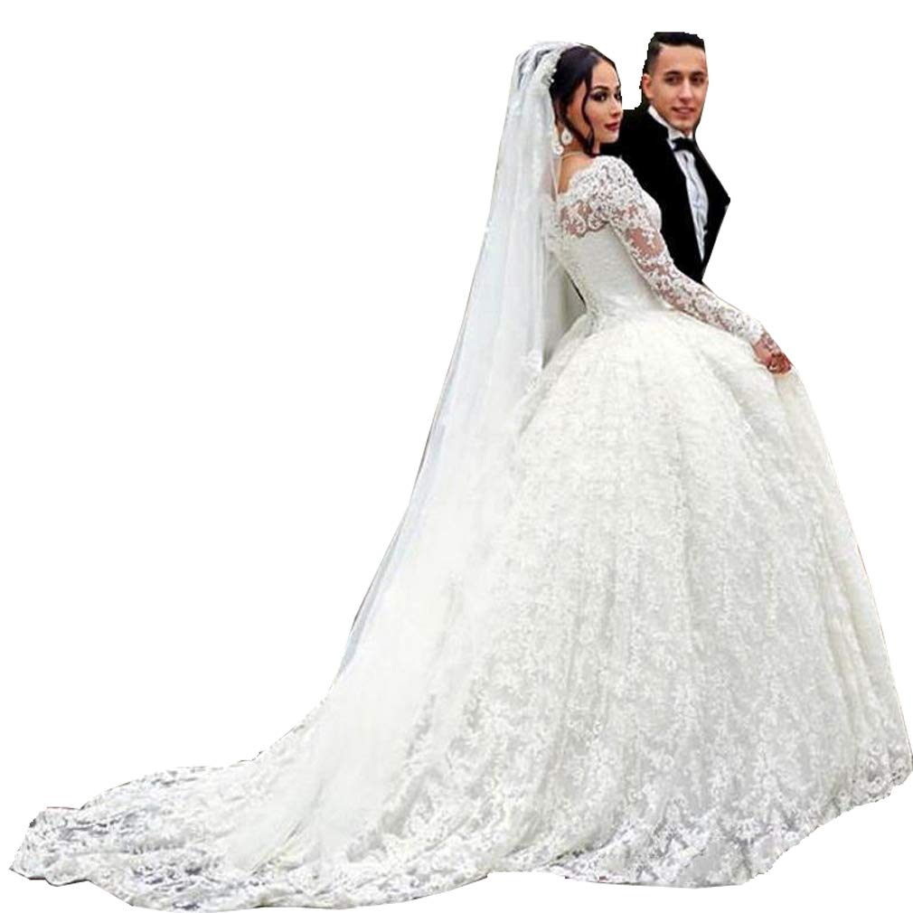 White SIQINZHENG Women's Ball Gown Lace Wedding Dresses White Bridal Gowns
