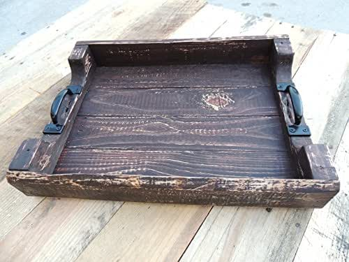 Amazon Com Rustic Wood Coffee Table Ottoman Serving Tray