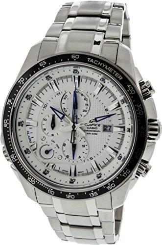 Men's Stainless Steel Edifice White Dial Alarm Chronograph (Casio Edifice Alarm Chronograph Watch)