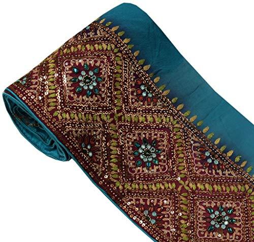 Beaded Sari - Vintage Sari Border Indian Craft Sewing Trim Hand Beaded Embroidered Ribbon Lace