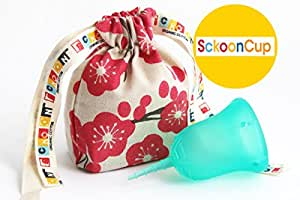 SckoonCup ECOPAC Made in USA - FDA Cleared - Plus Organic Cotton Pouch - Sckoon Menstrual Cup - Harmony-Size B Large