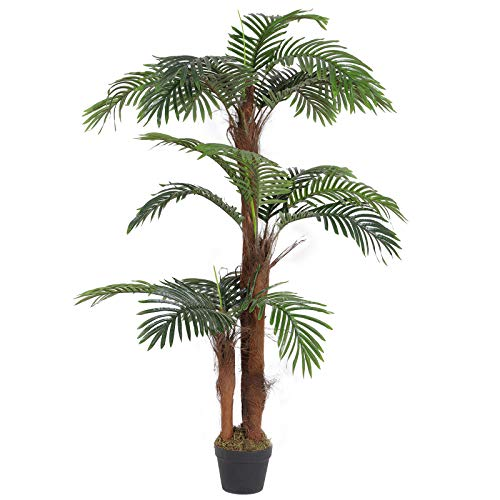 SONGMICS Artificial Palm Tree, 55-Inch Tall Potted Paradise Palm Silk Tree, Indoor Decorative Tree, Fake Houseplants, for Home, Office, Restaurant, Green ULAT102GN (Artificial Small Palm Trees)
