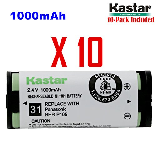 Kastar HHR-P105 Battery (10-Pack), Type 31, NI-MH Rechargeable Cordless Telephone Battery 2.4V 1000mAh, Replacement for Panasonic HHRP105 HHR-P105 HHRP105A HHR-P105A KX242 KX-242 KX2420 KX-2420 KX2421 KX-2421 KX2422 KX-2422 KXTG5779 KX-TG5779 Dantona BATT105 BATT-105 Empire CPH508 CPH-508 GE 86420 Lenmar CB0105 CB-0105 Avaya 3920 Interstate ATEL0014, TEL0014, TEL-0014 3920 Wireless Telephone