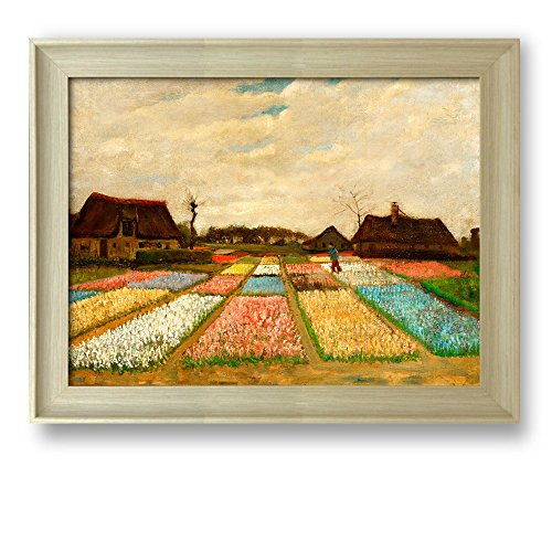 Flower Beds in Holland (or Bulb Fields) by Vincent Van Gogh Framed Art Print Famous Painting Wall Decor Natural Wood Finish Frame