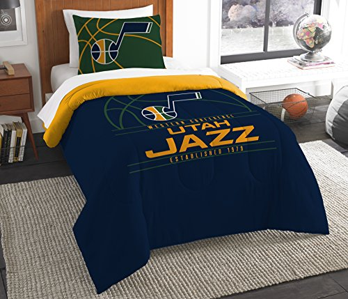 Utah Pillow - The Northwest Company Officially Licensed NBA Utah Jazz Reverse Slam Twin Comforter and Sham