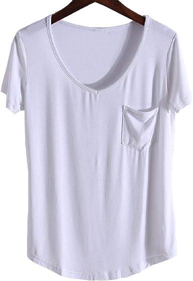 Camiseta de Mujer de Manga Corta Camisa Salvaje Camisa de Fondo de Gran tamaño Camiseta de Mujer Modal de Mujer de Manga Corta: Amazon.es: Ropa y accesorios