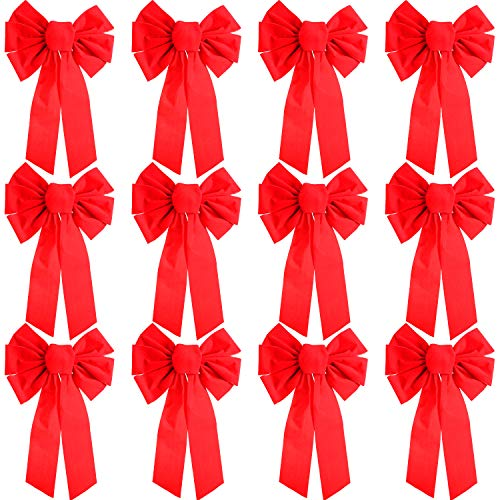 (Patelai 12 Pieces Christmas Red Velvet Bows Large Bow Tie with 6 Loop Holiday Bow for Christmas Decoration, 16 by 10 Inches)