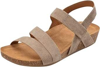 haoricu Wedge Shoes Summer Womens Fashion Open Toe Sandals Bohemian Sandals Comfortable Platform Sandals