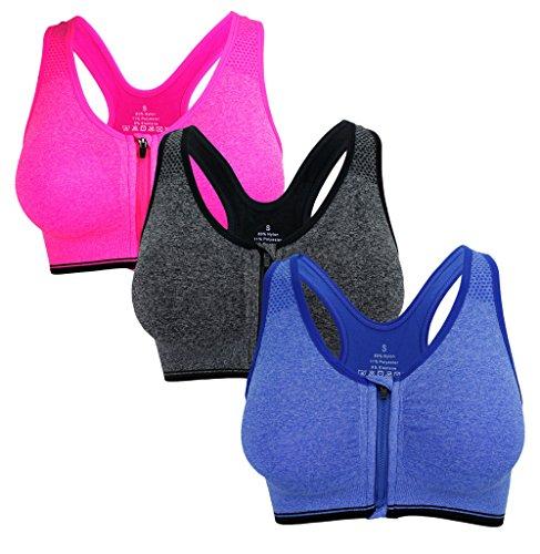 (Women's Seamless Wirefree Zipper Front Racerback Sports Bra Removable Paddings (XL, 3 Pack B))