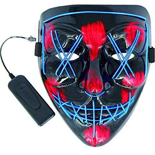 MeiGuiSha LED Halloween Mask Halloween Scary Cosplay Light up Mask for Festival Parties (Black &Blue) -