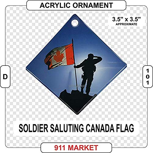 911 Market CAF Soldier Standing Saluting Canadian Flag Acrylic Ornament Canada Gift - D 101