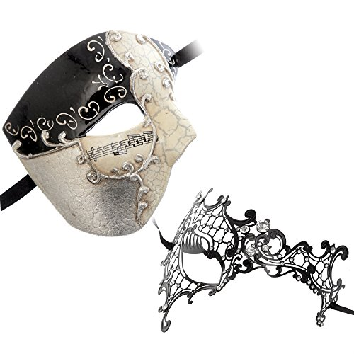 Half Face Musical Phantom of Opera Men Mask Black Silver Series Couple Mask Sets (bk3)