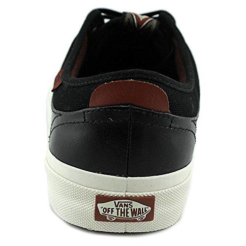 Vans Freamon Heren Ronde Neus Lederen Zwarte Sneakers Zwart