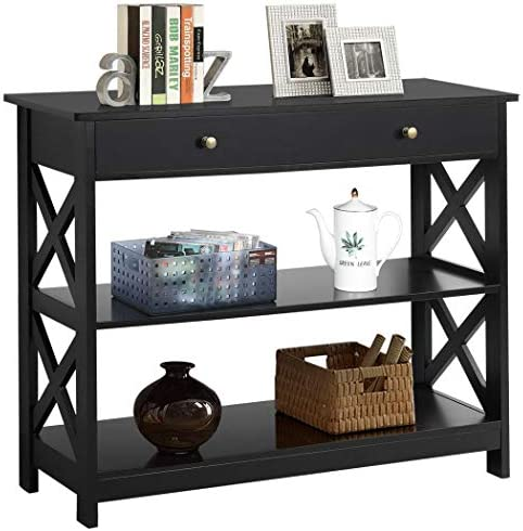 Yaheetech Console Sofa Table Classic X Design with Drawer and three Tier Storage Shelves - Entryway Hall Table Bookshelf Display Rack for Living Room Office Furniture