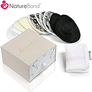 NatureBond Washable Organic Bamboo Nursing Pads (10 Pack) | Contoured Reusable Breast/Breastfeeding Lace Pads | Beautiful Absorbent Hypoallergenic | Bonus Laundry Bag | Perfect Baby Shower Gift