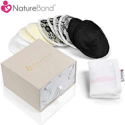 NatureBond Natural Bamboo Nursing Breast Pads - 10 Washable Reusable Pads - Contoured Breastfeeding Nipple Pads with Large Laundry Bag - Breastfeeding Supplies (Special Lace Style)