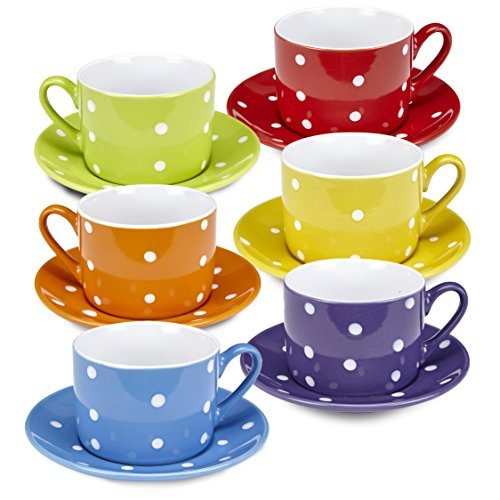 Polka Dot Tea Plates - Klikel Coffee Mug And Saucer Set - 12 Piece Porcelain Dinnerware - Solid Colors With White Polka Dots - 5.5 Plates And 7.5oz Cups - Microwave And Dishwasher Safe