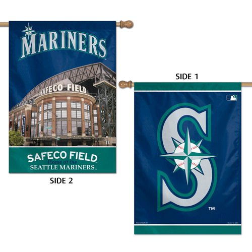 WinCraft MLB Seattle Mariners 2 Sided Vertical Flag, 28 x 40