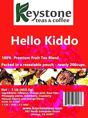 - Hello Kiddo - Fruit Tea Blend - Kids Tea - Caffeine -Free - Hot and Iced Tea - Loose Leaf Fruity Blend- (16Oz) (1 Lb)