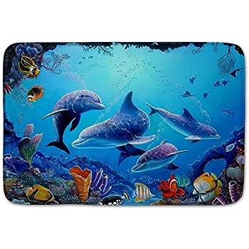 Amazon Com Blue Sea Theme Dolphin Shark Bathroom Mat