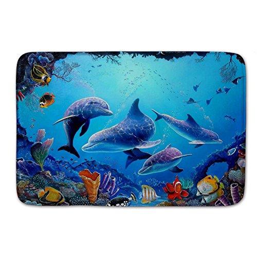 (Colorful Sea Ocean World Dolphin Tropical Fishes Coral Swim in the Deep Ocean Doormats Floor Mat Door Mat Rug Indoor/Outdoor Mats Welcome Doormat 24