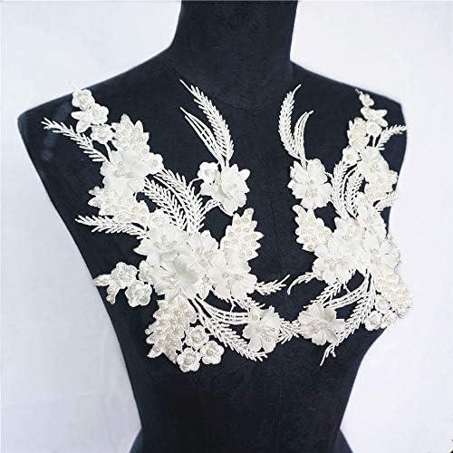 白い刺繍真珠のレースのアップリケ縫製生地カラースリムウェディングドレス花嫁DIY工芸品のペア