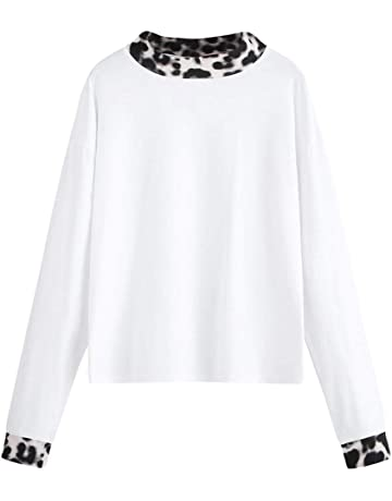ab51eda5379c ANJUNIE Women s Leopard Print Color Tops Round Neck Long Sleeve T-Shirt  Tunic Blouse