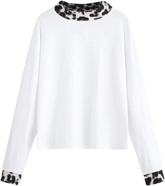 Luckycat Camiseta de Manga Larga con Estampado de Leopardo Cuello Redondo para Mujer Blusa: Amazon.es: Ropa y accesorios