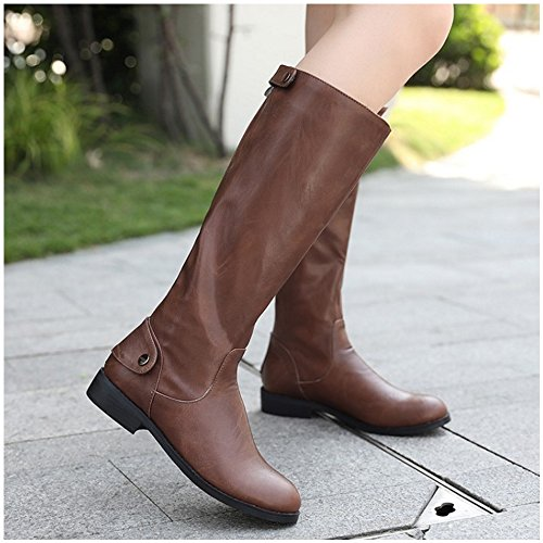 Zipper Riding Boots Women Brown Long Winter 1440 Classic TAOFFEN Boots 4UOwnxZx