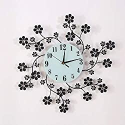 KINBEDY 22 LuxuryCrystal Bohemian Peacock Style Metal Modern Wall Clock with Silent Movement 9.5 White Glass Dial Large Sunburst Big Fancy Decorative Clock for Living Room, Bedroom, Office Space.