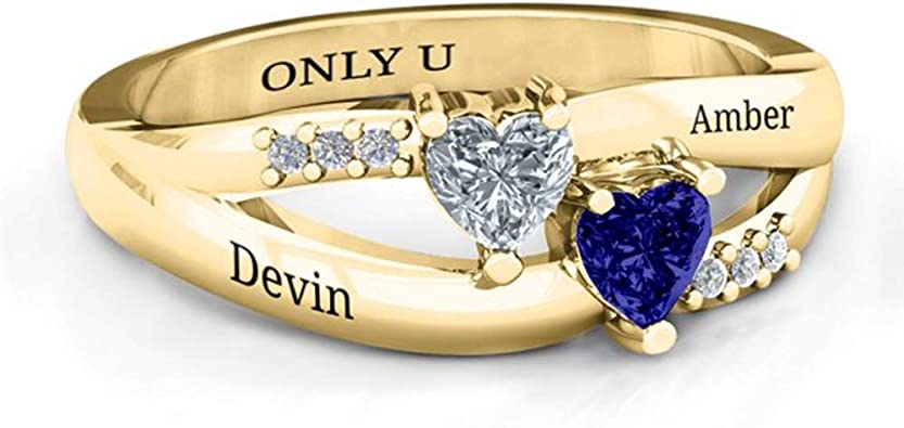 Name Ring birthstone ring Ring Promise Rings for Her Engagement Wedding Ring Couple Ring Gifts