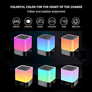 Aisuo Night Light – 5 in 1 Bedside Lamp with Bluetooth Speaker, 12/24H Digital Calendar Alarm Clock, Touch Control & 4000mAh Battery, Support TF and SD Card, The Best Gift for Kids and Friends.